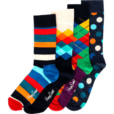 Happy Socks Giftbox 4 Pack Blue Stripe Dot 36-40